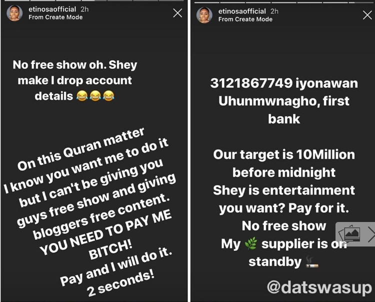 Actress Etinosa Insists She Will Tear The Quran And Use It To Smoke If Paid N10 Million 2