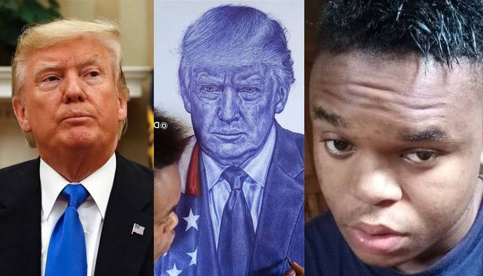 US President, Donald Trump Reaches Out To Nigerian Boy Who Drew His Portrait [Photos] 1