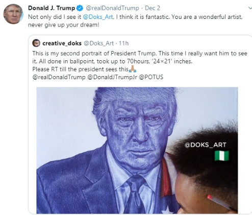 US President, Donald Trump Reaches Out To Nigerian Boy Who Drew His Portrait [Photos] 2