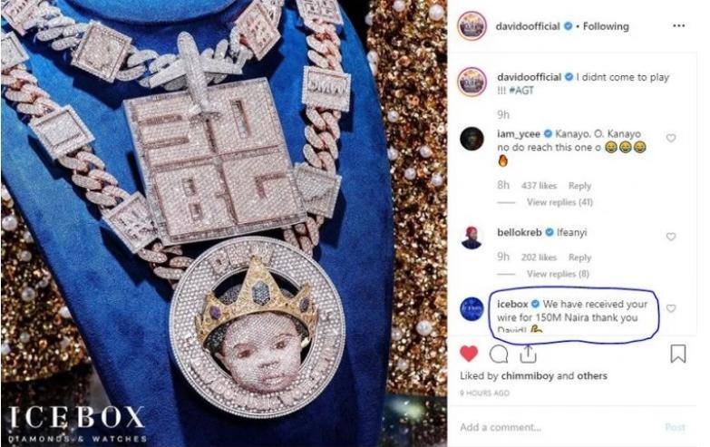 Davido Customizes His Son's Face On New Diamond Necklace Worth N150 Million [Photos] 2