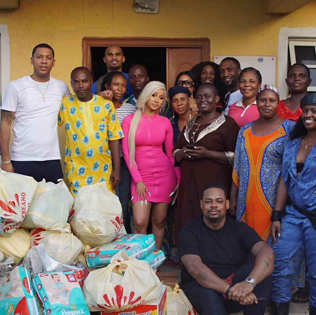 Cardi B Donates Massively As She Visits Orphanage Home In Lagos [Photos] 1