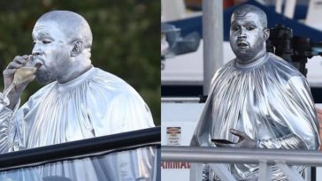 Kanye West Covers His Entire Body From Head-To-Toe With Metallic Silver Paint [Photos/Video] 6