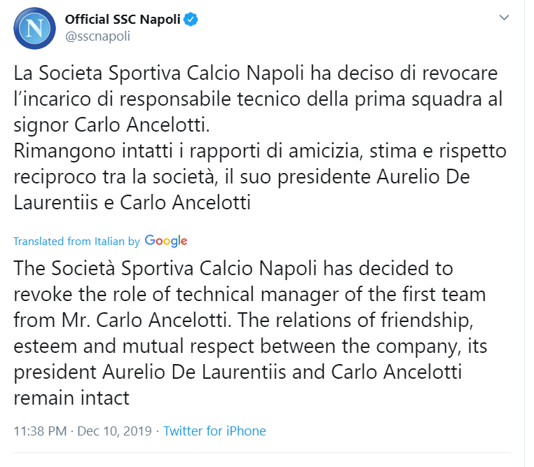 Carlo Ancelotti Sacked: Napoli sacks Coach Carlo Ancelotti Despite Qualifying For Champions League Round 16 2
