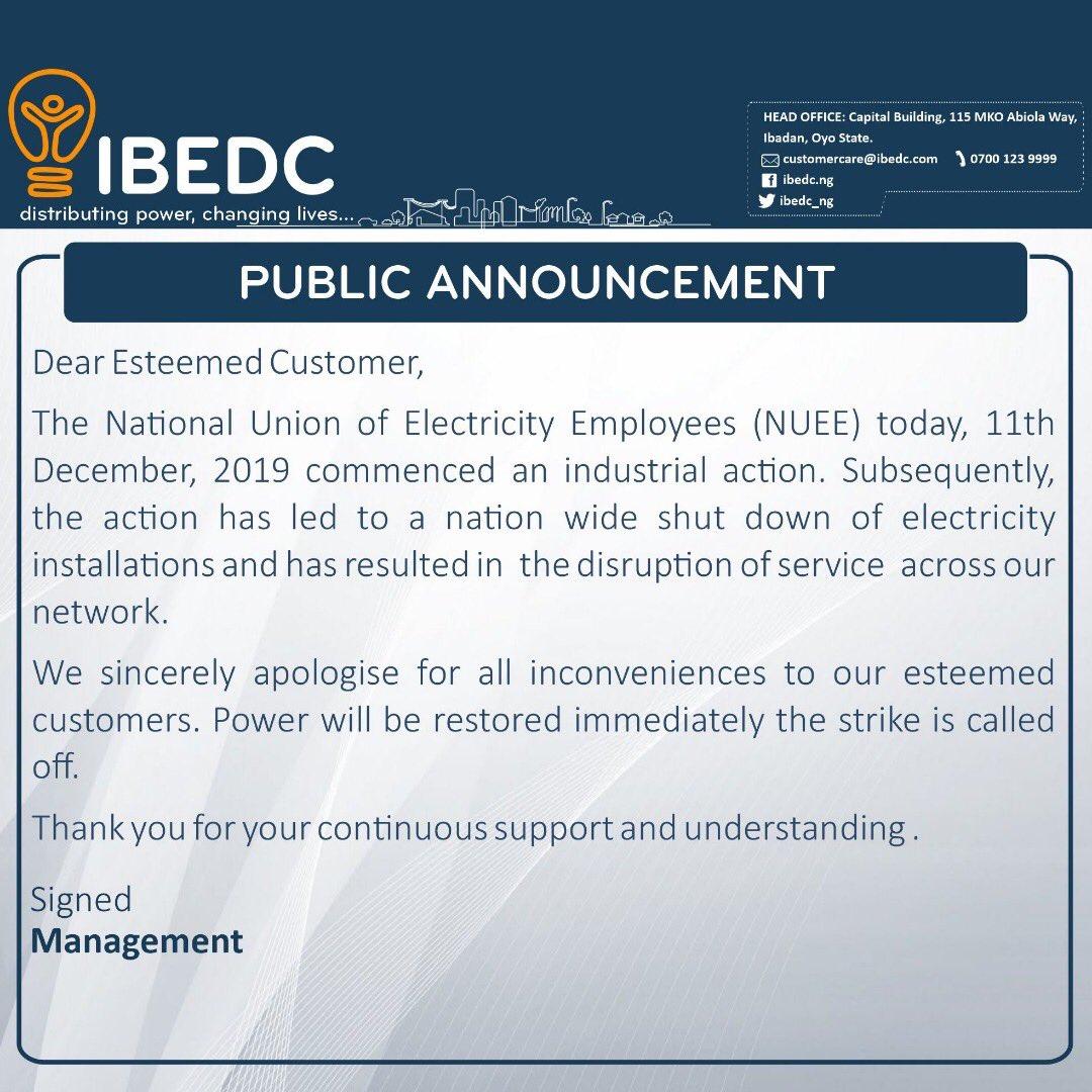NEPA/PHCN: Total Blackout Across Nigeria As Electricity Workers Begins Nationwide Strike 3