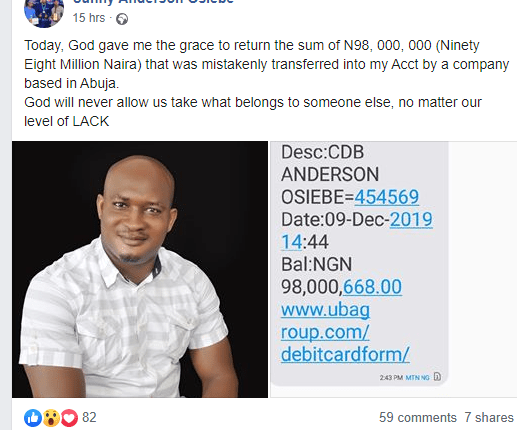 Nigerian Man Returns N98 Million That Was Mistakenly Transferred Into His Account 2