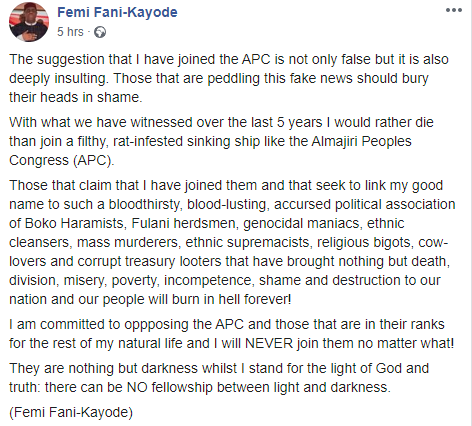 """""""I Would Rather Die Than Join APC, Almajiri Peoples Congress"""" - Fani Kayode Blows Hot 2"""