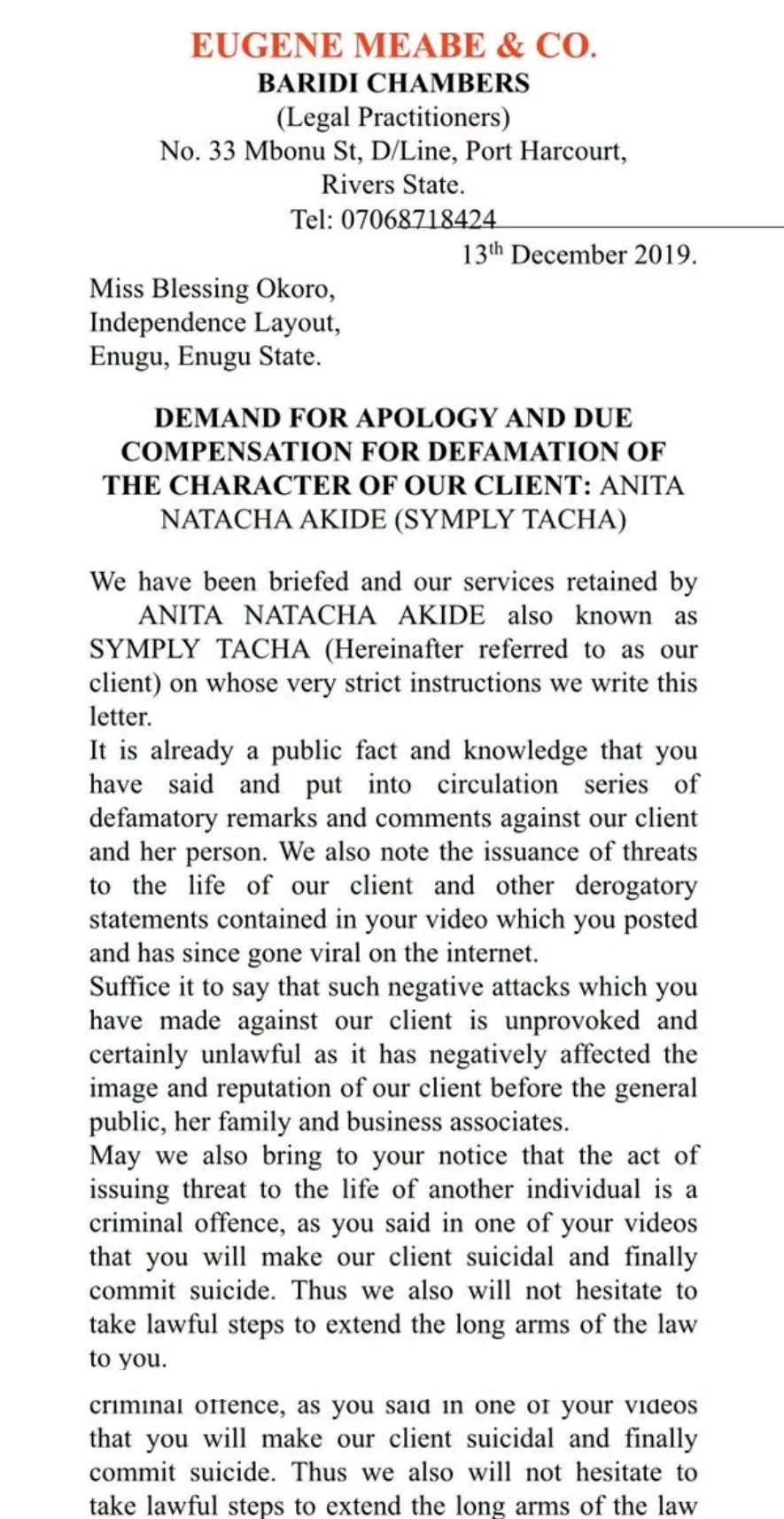 Tacha Drags Blessing Okoro To Court, Demands N20 Million For Defamation Of Character 3