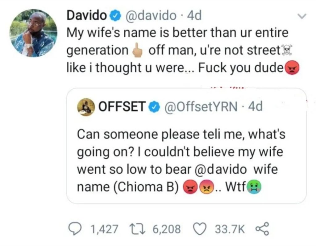 """Chioma Is Better Than Your Entire Generation"" — Davido Blasts Cardi B's Husband, Offset 2"