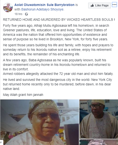 72-Year-Old Nigerian Man Who Spent 45 Years In US, Killed In His Retirement Home In Lagos 3