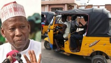 Kano Governor, Abdullahi Ganduje Bans Opposite Genders From Entering Same Tricycle 4