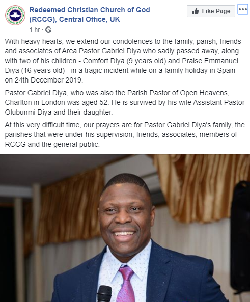 RCCG Pastor, Son And Daughter Drown Inside A Pool While On Christmas Vacation In Spain 4