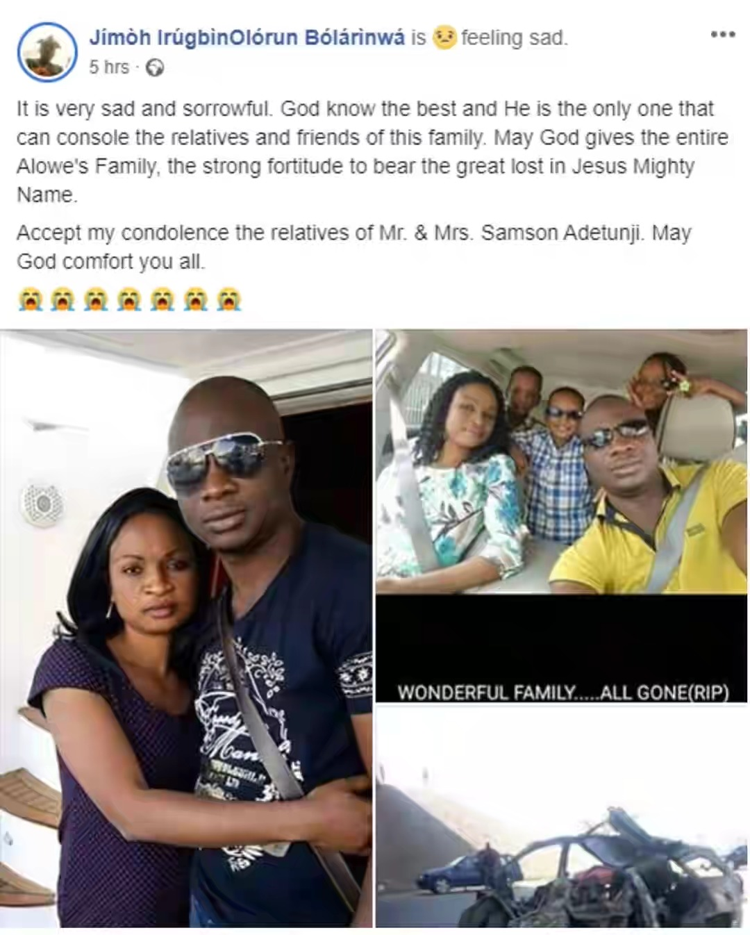 Nigerian Man, His Wife And 3 Children Dies On Tragic Road Accident On Christmas Day 3