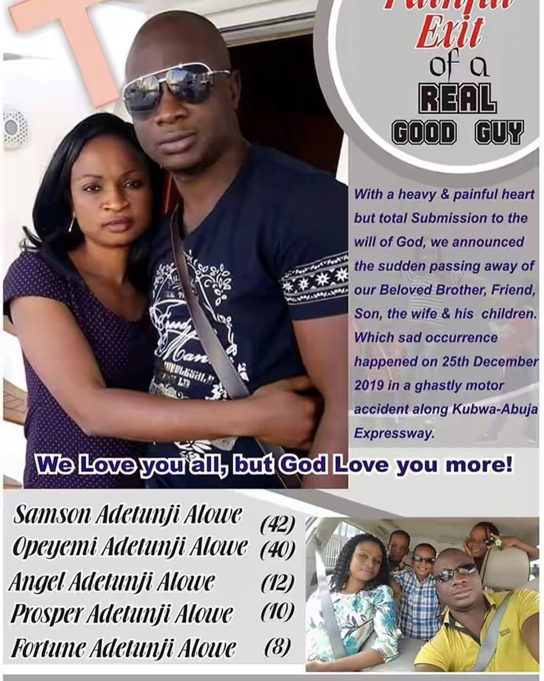 Nigerian Man, His Wife And 3 Children Dies On Tragic Road Accident On Christmas Day 2