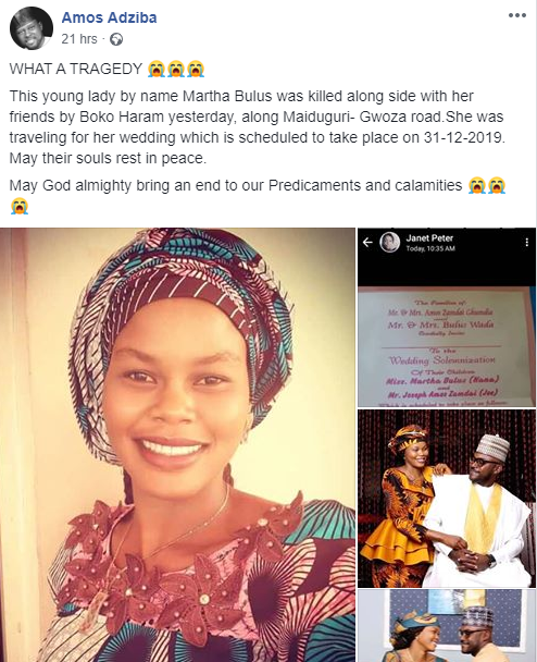Boko Haram Terrorists Kills Young Lady, 5 Days To Her Wedding In Adamawa State [Photos] 3