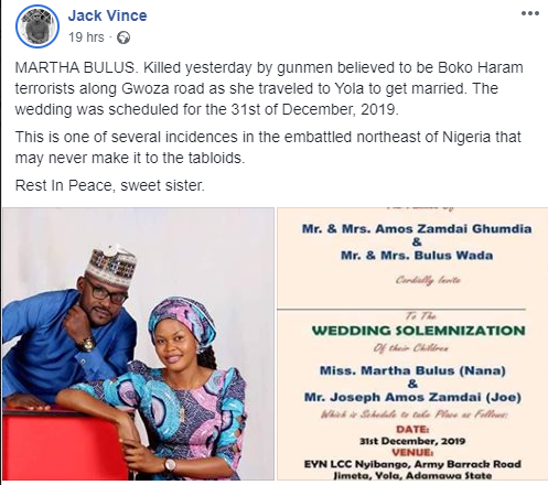 Boko Haram Terrorists Kills Young Lady, 5 Days To Her Wedding In Adamawa State [Photos] 4