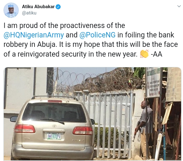 Atiku Reacts As Policemen, Soldiers Foil Armed Robbery Attack In First Bank Abuja 3