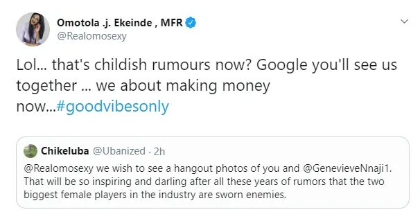 Omotola Jalade-Ekeinde Reacts To Claim That She And Genevieve Nnaji Are Sworn Enemies 1