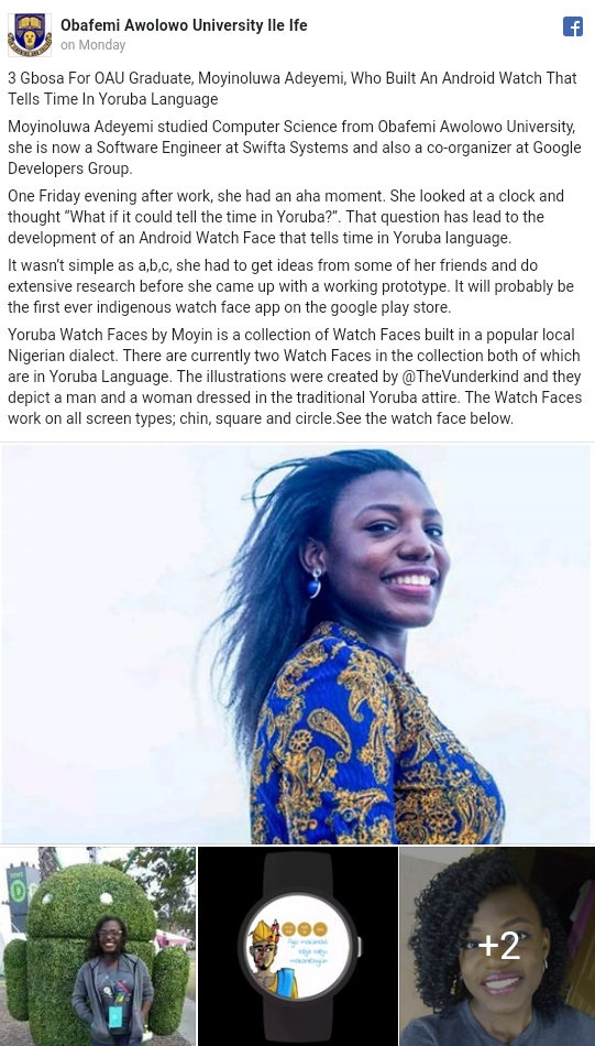 Nigerian Lady, Moyinoluwa Adeyemi Built Android App That Tells Time In Yoruba Dialect 2