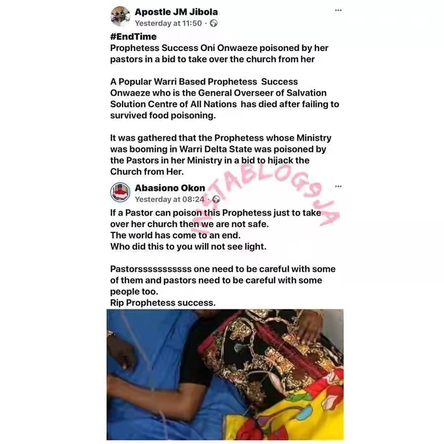 Pastors Poisons Their General Overseer To Death In Order To Take Over Her Church In Delta State 3