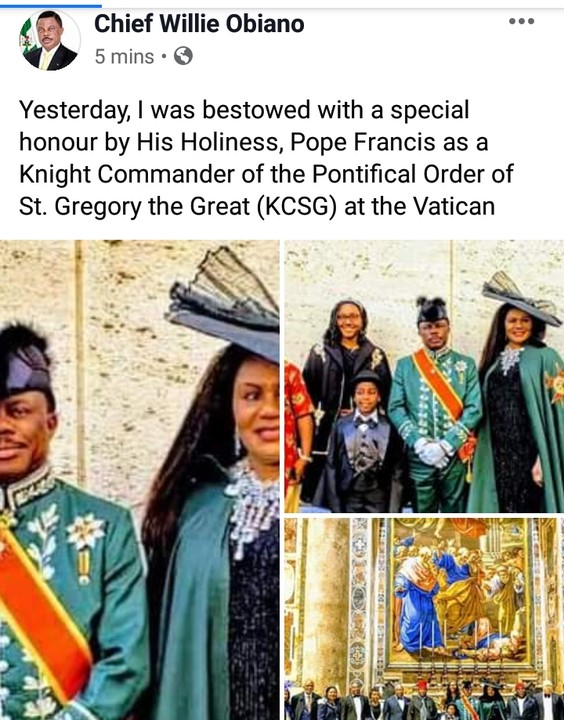 Pope Francis Honours Anambra Governor, Willie Obiano With Knight Title In Vatican City [Photos] 2