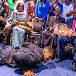 Anthony Joshua Prostate Before Buhari, Presents His Heavyweight Belts To Him In London [Video] 28