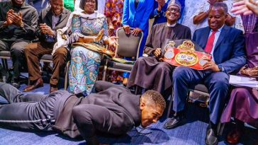 Anthony Joshua Prostate Before Buhari, Presents His Heavyweight Belts To Him In London [Video] 2