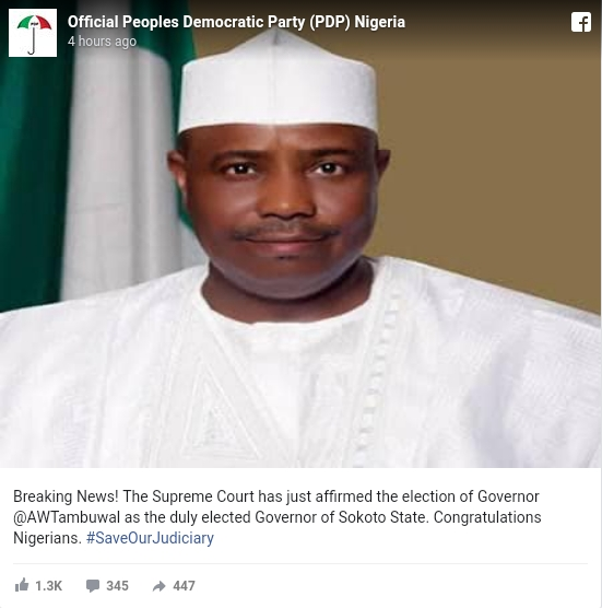 Supreme Court Affirms Election Of Aminu Tambuwal As Governor Of Sokoto State 2