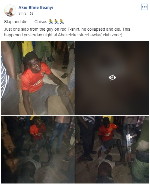 Young Man Dies After Receiving 'One Dirty Slap' From Another Man In Anambra [Photos] 2