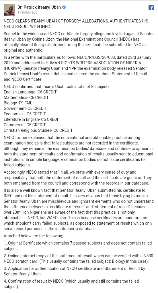 NECO Clears Senator Ifeanyi Ubah Of Certificate Forgery Allegations, Releases Full Result 1
