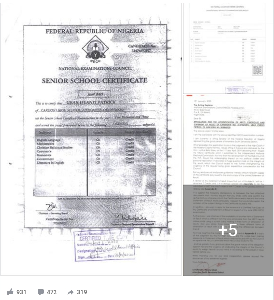 NECO Clears Senator Ifeanyi Ubah Of Certificate Forgery Allegations, Releases Full Result 2