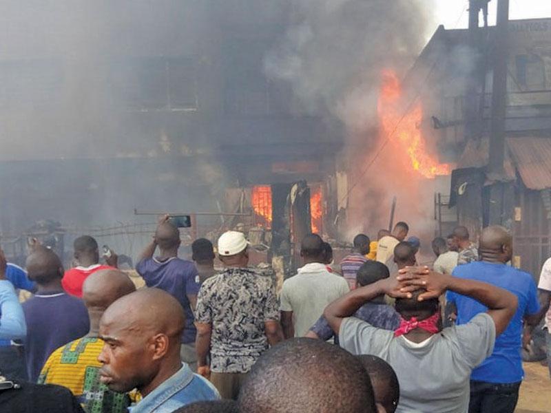 Another Fire Outbreak At Popular Balogun Market In Lagos Island [Video/Photos] 1