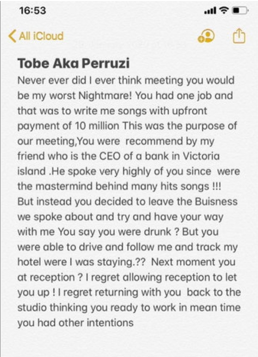 Daffy Blanco Accuses Peruzzi Of Raping And Defrauding Her Of N15m, Releases Audio To Back Claims 2