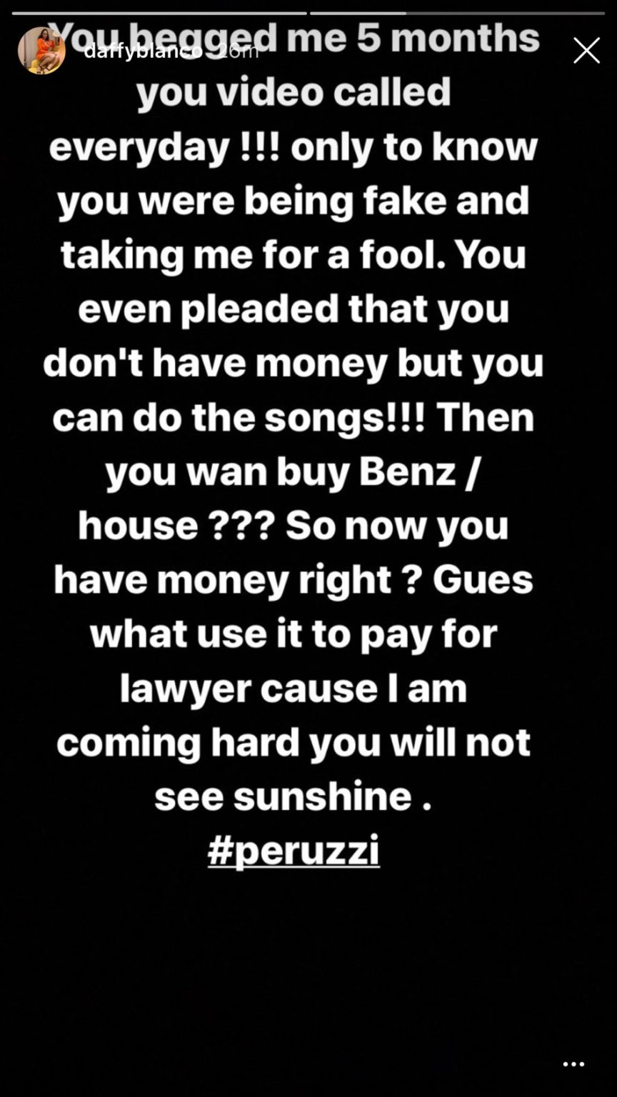 Daffy Blanco Accuses Peruzzi Of Raping And Defrauding Her Of N15m, Releases Audio To Back Claims 6