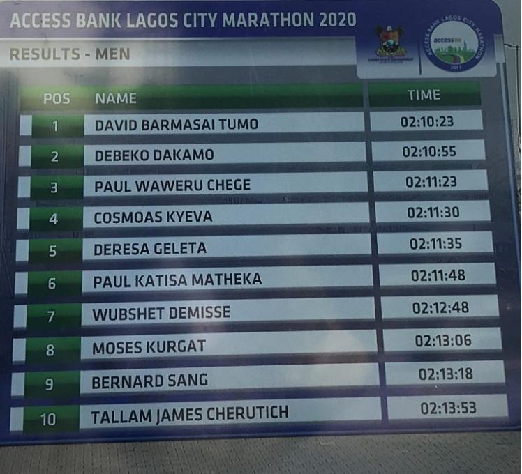 Kenyan Runner, David Barmasai Tumo Breaks 4 Years Record To Win Lagos City Marathon 2