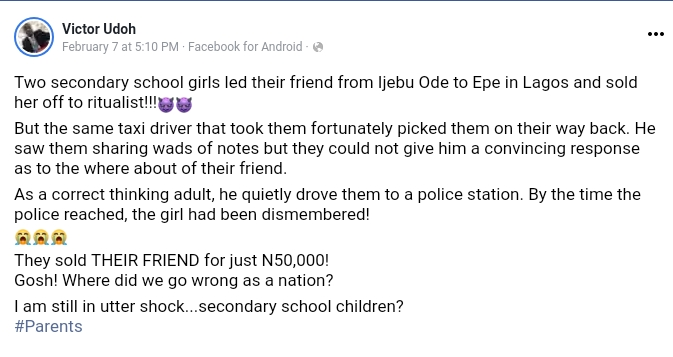 2 Ogun Secondary School Girls Allegedly Lure Their Friend To Lagos, Sell Her Off To Ritualist For N50K 2