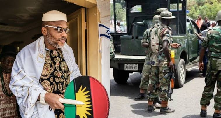 Nigerian Soldiers Block Entrance To Nnamdi Kanu's Residence Ahead Of His Parents' Burial 1