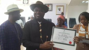 INEC Confirms Duoye Diri As Bayelsa Governor-Elect, Presents Certificate Of Return To Him 6