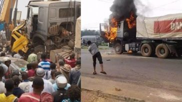 Mob Sets 2 Fully Loaded Dangote Cement Trucks Ablaze After Crushing 6 To Death In Ogun [Photos] 1