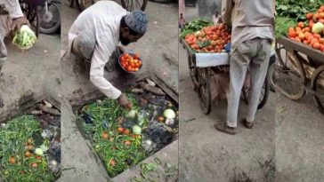 Vegetable Vendor Caught Selling Tomatoes And Cabbage He Picked From Dirty Drainage [Video] 6