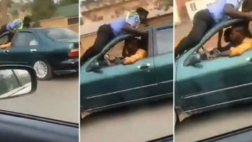 Nigerian Police Officer Lays On The Roof Of A Speeding Car In Attempt To Stop The Driver [Video] 3