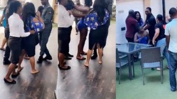 Drama As Angry Wife Catches Husband Red-Handed With His Side Chic Inside Benin Hotel [Video] 2