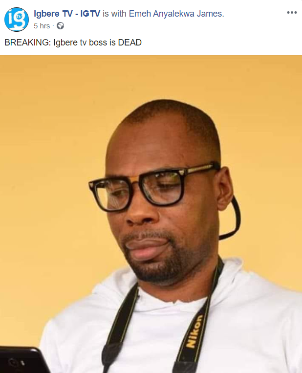 UPDATE: Igbere TV founder abducted but not murdered - Facebook page hacked 1
