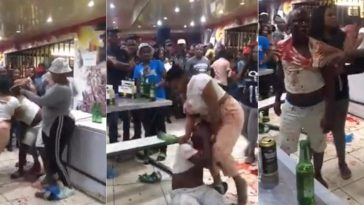 Drama As Angry Woman Attacks Her Cheating Husband, Breaks Bottle On His Head [Video] 2