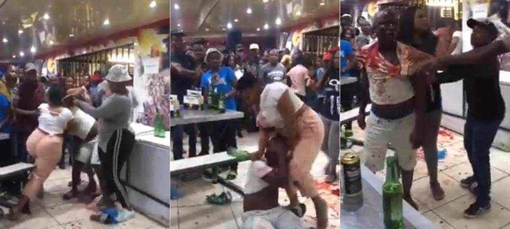 Drama As Angry Woman Attacks Her Cheating Husband, Breaks Bottle On His Head [Video] 1