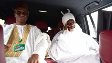 Dethroned Emir of Kano Sanusi leaves Awe Town with Governor El-Rufai of Kaduna 4
