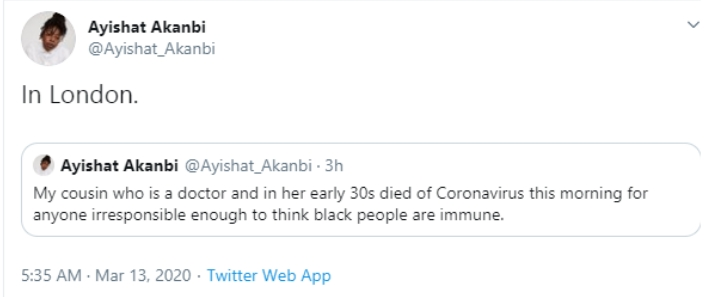 Cousin Of Popular Stylist, Ayishat Akanbi Becomes First Nigerian To Die Of Coronavirus 2
