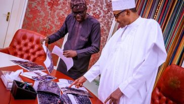Lagos Governor, Sanwo-Olu Takes Pictures Of Abule-Ado Explosion To Buhari In Abuja [Photos] 3