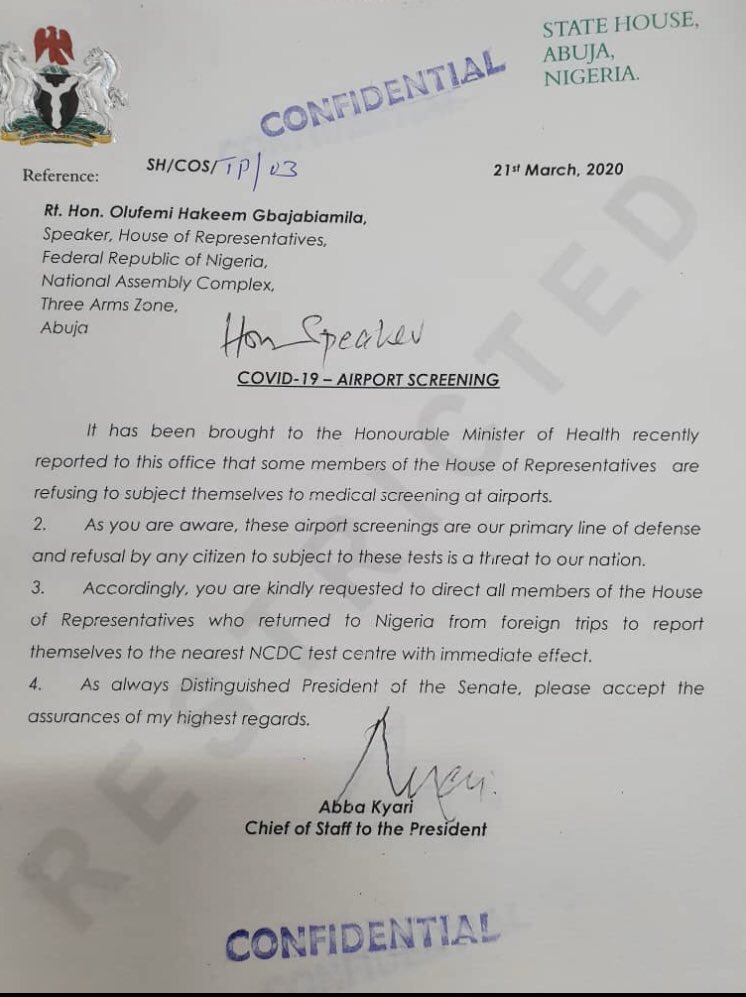Coronavirus: Presidency Expresses Displeasure Over Returning Lawmakers Refusing Screening At Airport 2