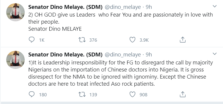 Dino Melaye Condemns the presence Of Chinese Doctors In Nigeria 2