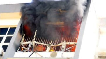 INEC Headquarters In Abuja Goes Up In Flames As Fire Service Battles To Quench The Inferno 11